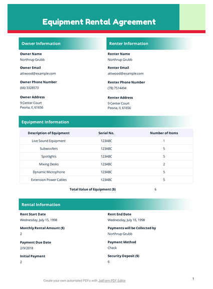Equipment Rental Agreement Template Pdf Templates Jotform