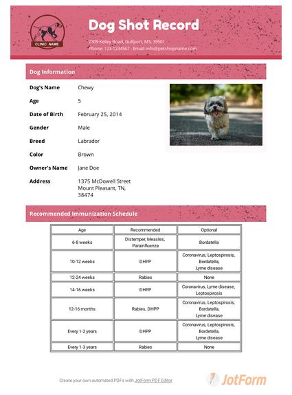 Dog Shot Record Template Pdf Templates Jotform