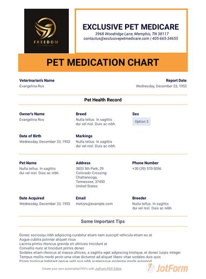 Pet Medication Chart