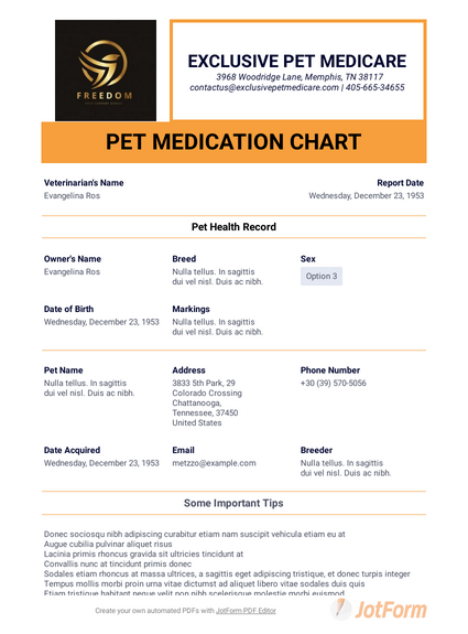 Pet Medication Chart
