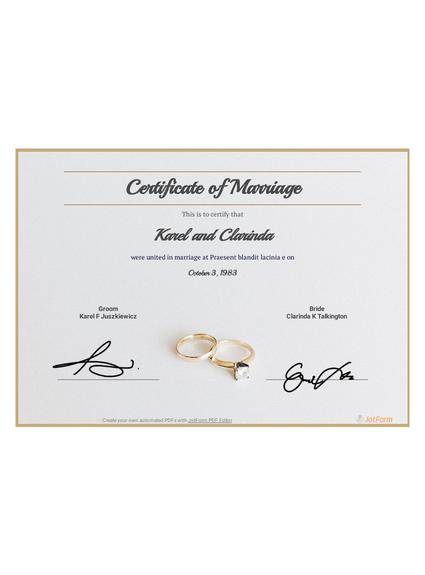 Free Marriage Certificate Template Pdf Templates Jotform
