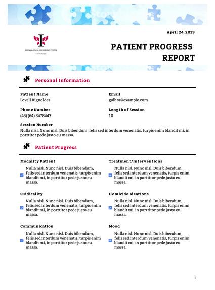 Patient Progress Report Template