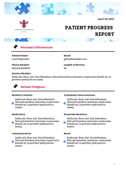 Patient Progress Report