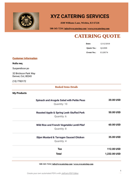 Catering Quote