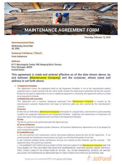 Maintenance Agreement Template Pdf Templates Jotform