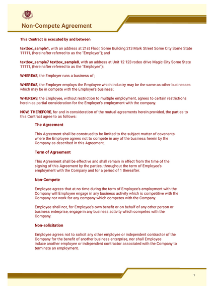 Free Non Compete Agreement Template Pdf Templates Jotform