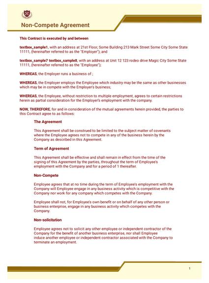 Free Non Compete Agreement Template Pdf Templates Jotform