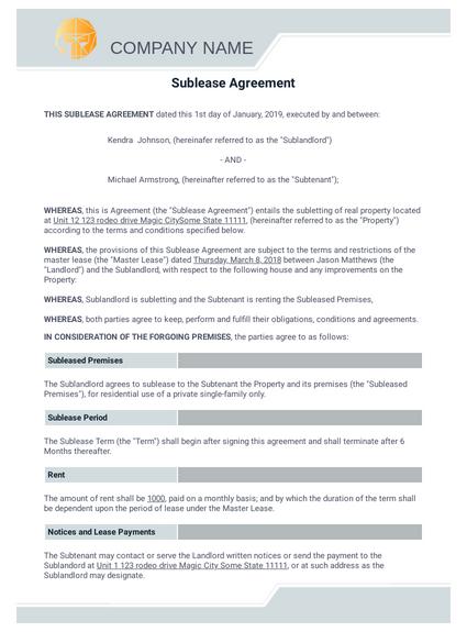 Free Sublease Agreement Template Pdf Templates Jotform