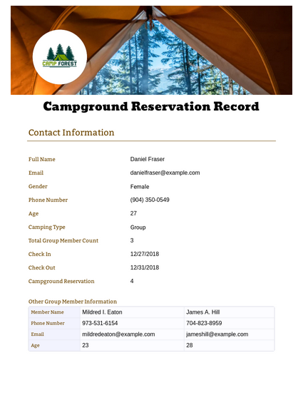 Campground Reservation Record