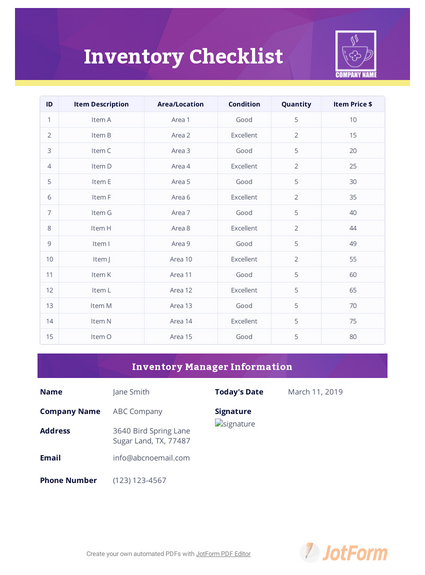 Inventory Checklist Template - PDF Templates   JotForm