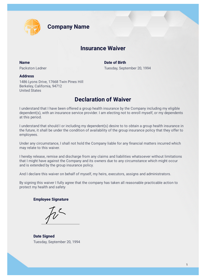 Insurance Waiver