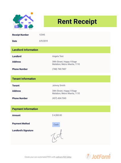Free Rent Receipt