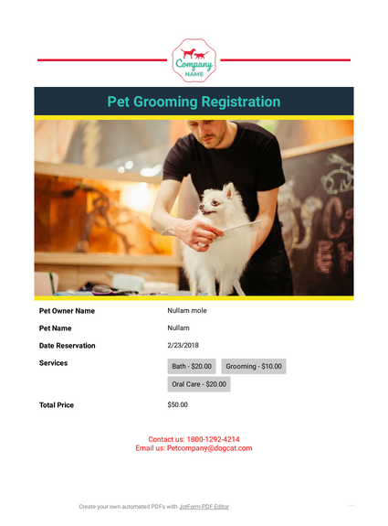 Pet Grooming Registration