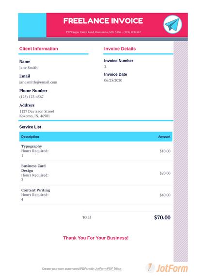 Freelance Invoice Template Pdf Templates Jotform