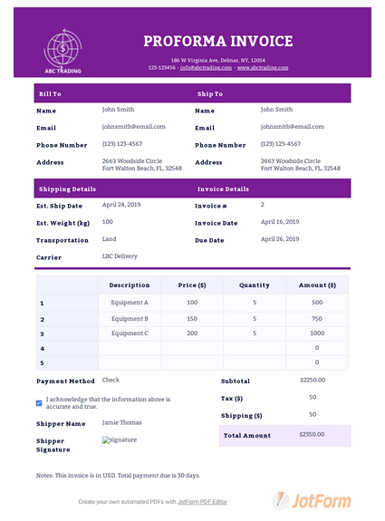 Proforma Invoice Template Pdf Templates Jotform