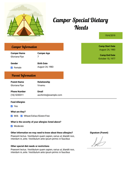 Camper Special Dietary Needs Template
