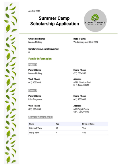 Summer Camp Scholarship Application