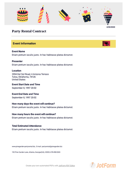 Party Rental Contract Template Pdf Templates Jotform