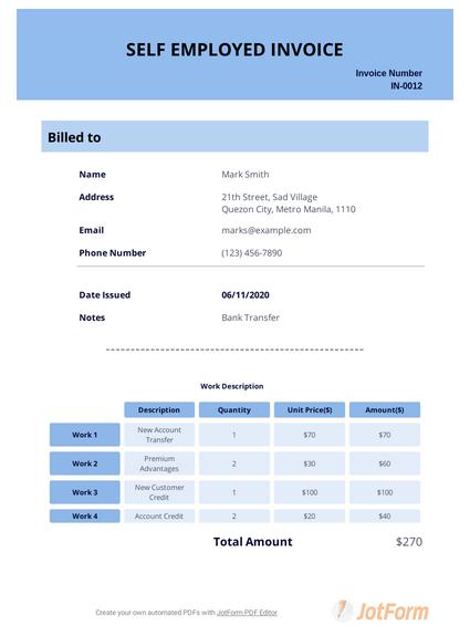 Self Employed Invoice Template Pdf Templates Jotform