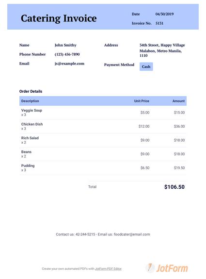 Catering Invoice Template Pdf Templates Jotform