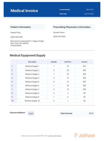 Medical Invoice Template Pdf Templates Jotform