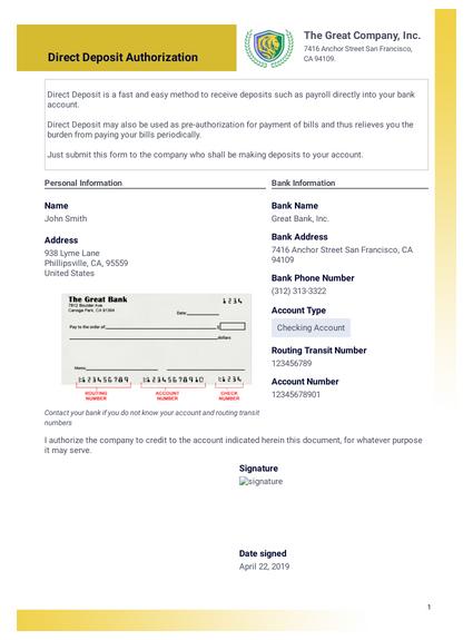 Direct Deposit Authorization PDF