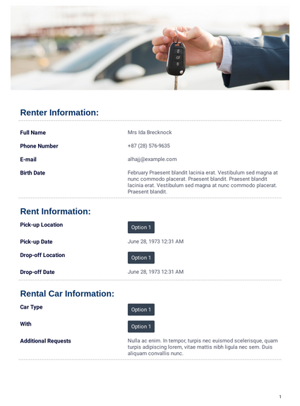 Car Rental Agreement Template Pdf Templates Jotform