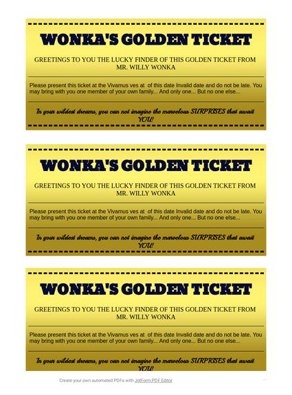 Wonka Golden Ticket TemplateTemplates JotForm