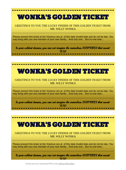 Willy Wonka Golden Ticket