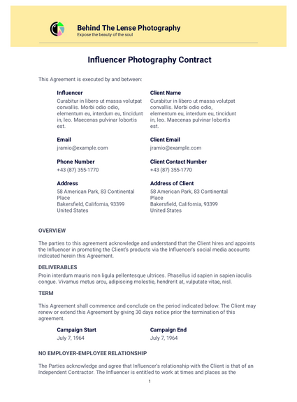 Influencer Photography Contract Template Pdf Templates