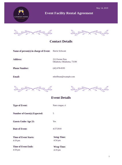 Event Facility Rental Agreement Template Pdf Templates