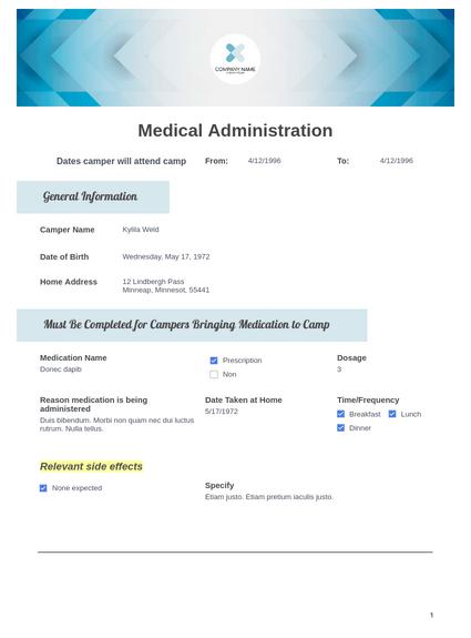 Camper Medication Administration Template