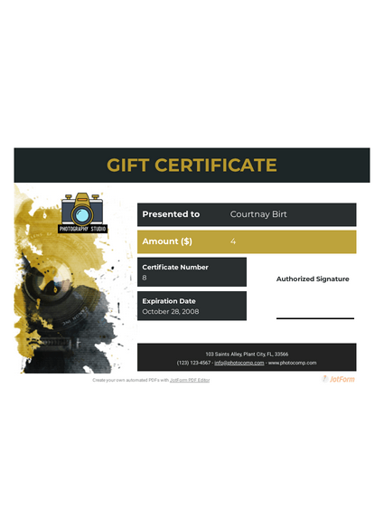 Photography Gift Certificate
