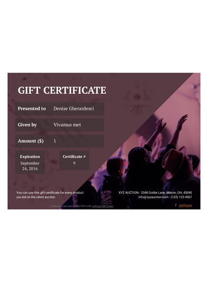 Silent Auction Gift Certificate