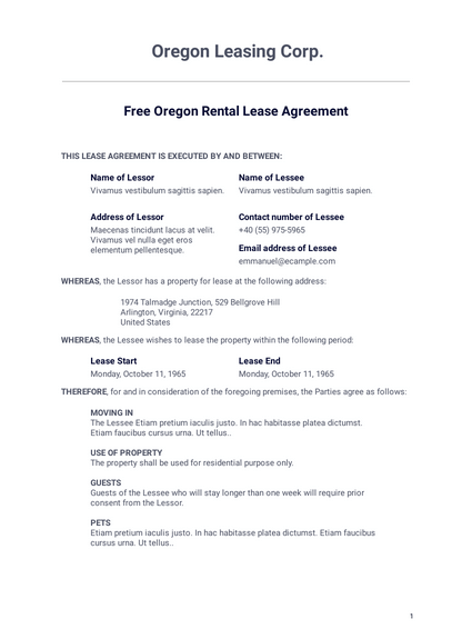 Free Oregon Rental Lease Agreement