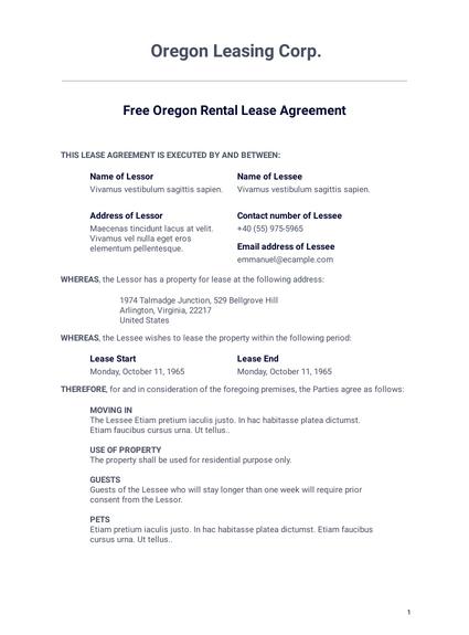 Free Oregon Rental Lease Agreement Template Pdf Templates