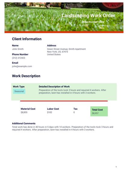 Landscaping Work Order