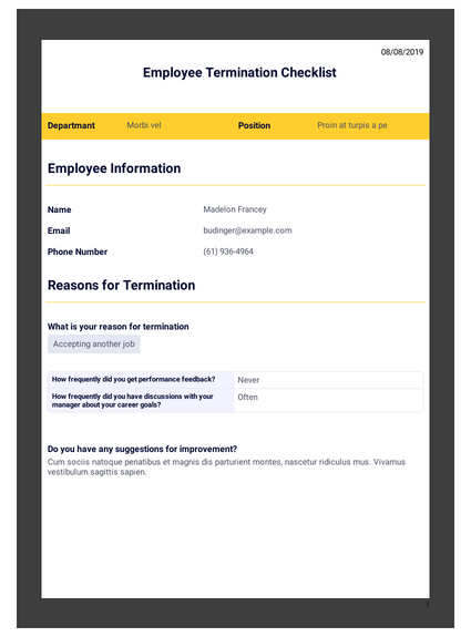 Employee Termination Checklist