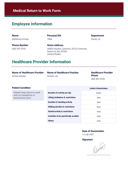 Medical Return to Work Form