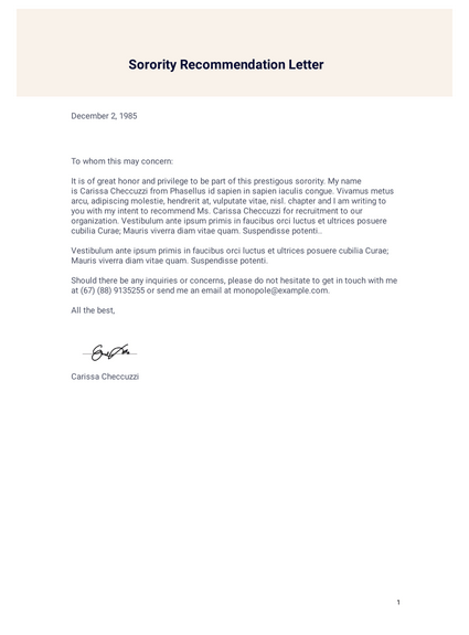 Sorority Recommendation Letter Template