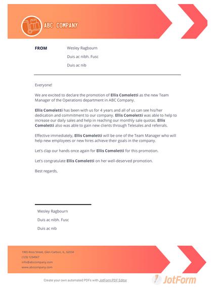 Promotion Announcement Letter Pdf Templates Jotform