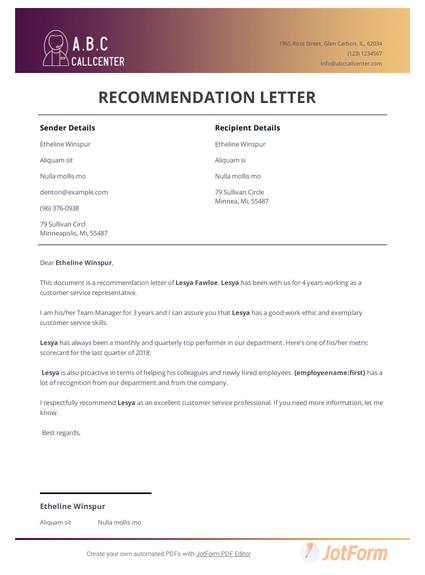 A Good Recommendation Letter.Customer Service Recommendation Letter Pdf Templates Jotform