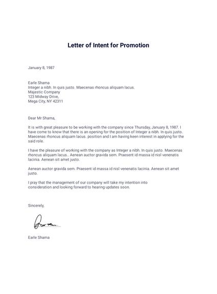 Letter of Intent for Promotion - PDF Templates   JotForm