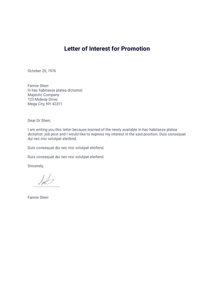 Letter of Interest for Promotion
