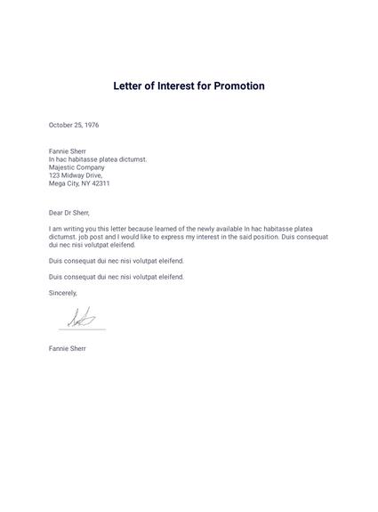 Letter of Interest for Promotion - PDF Templates   JotForm on promotion recommendation letter, police promotion resume cover letter, hr promotion requirements, unfair promotion letter, congratulations on your promotion letter,