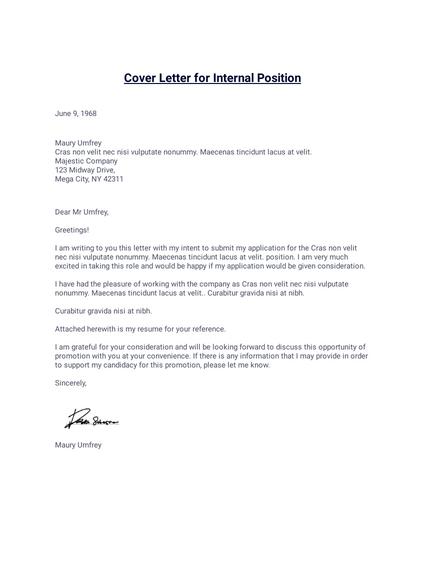 cover letter for internal position