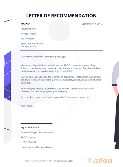 Co Worker Letter Of Recommendation.Letter Of Recommendation Template For Coworker Pdf