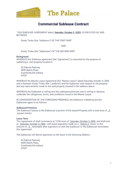 Commercial Sublease Contract