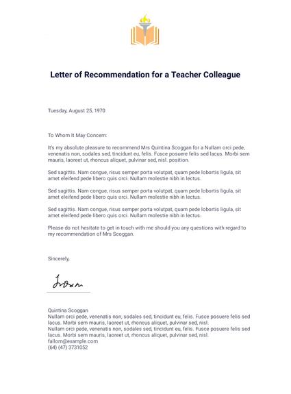 Letter Of Recommendation For A Teacher Colleague Pdf