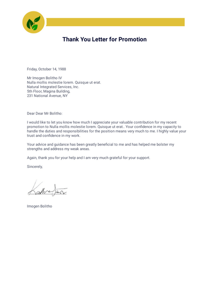 Thank You Letter for Promotion
